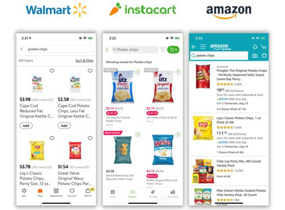 Search results for ″Potato Chips″ across three eCommerce platforms