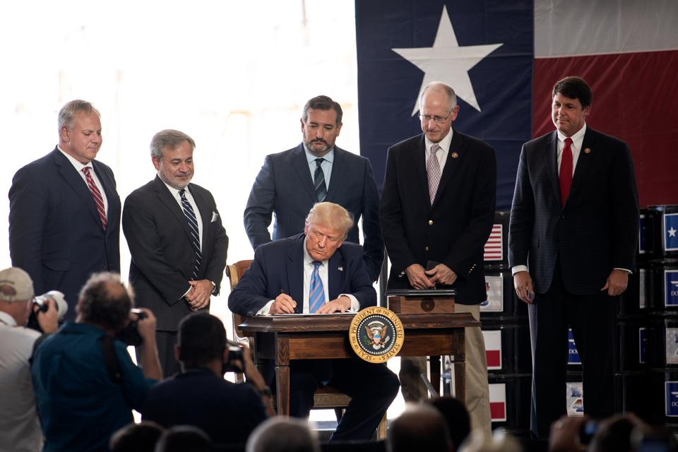 President Trump Speaks At Double Eagle Energy Rig In Midland, Texas