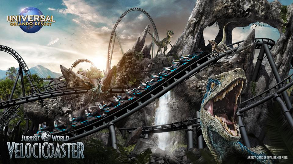 A rendering of the new VelociCoaster at Universal's Islands of Adventure