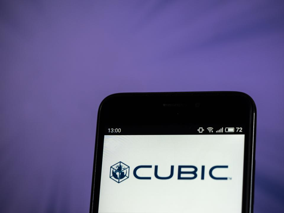 Cubic Corporation logo seen displayed on smart phone. Cubic