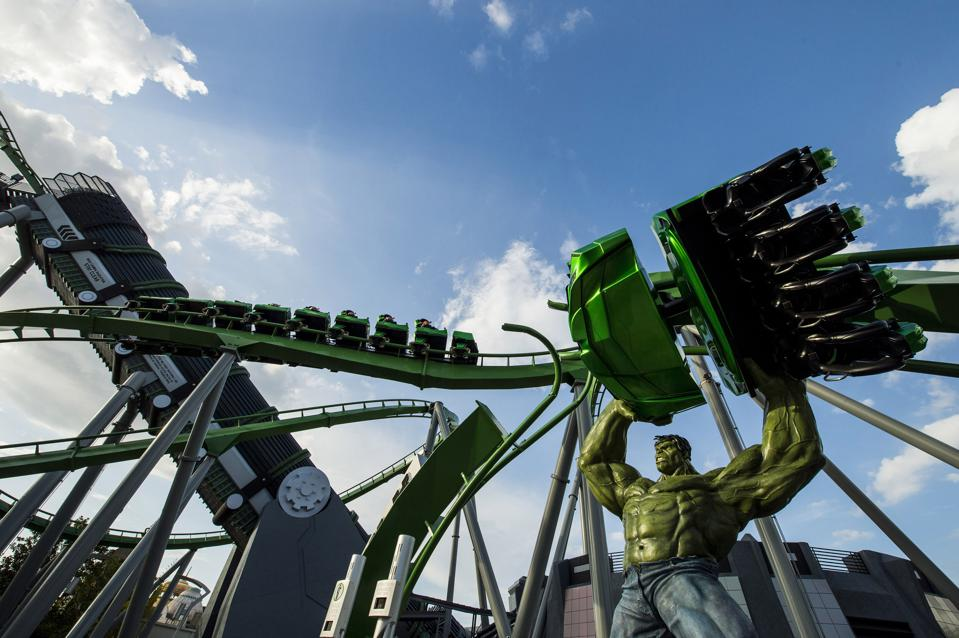 The Incredible Hulk Coaster drops riders 105 feet from the gate