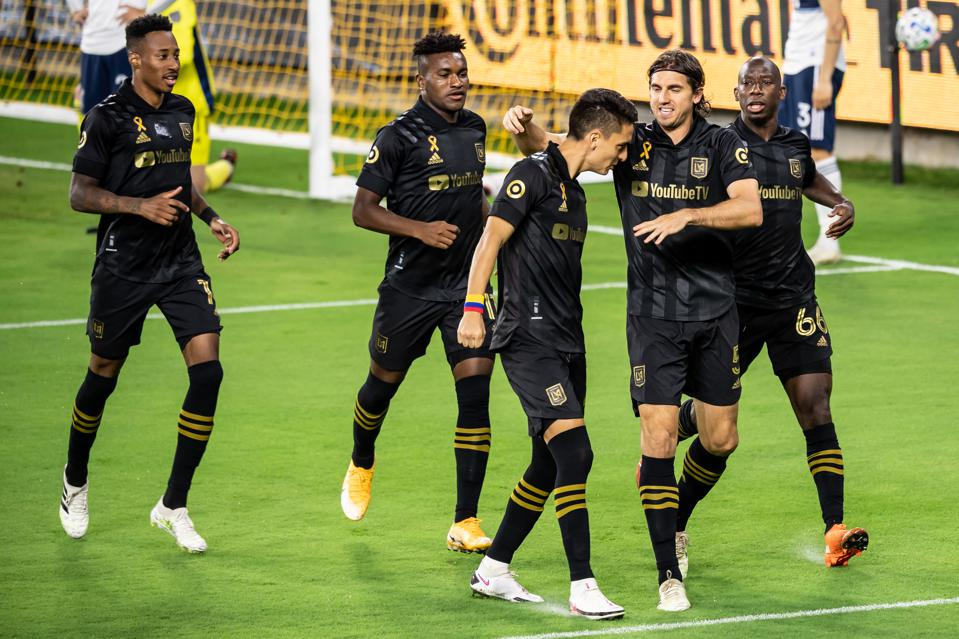 LAFC celebrating a goal against Vancouver