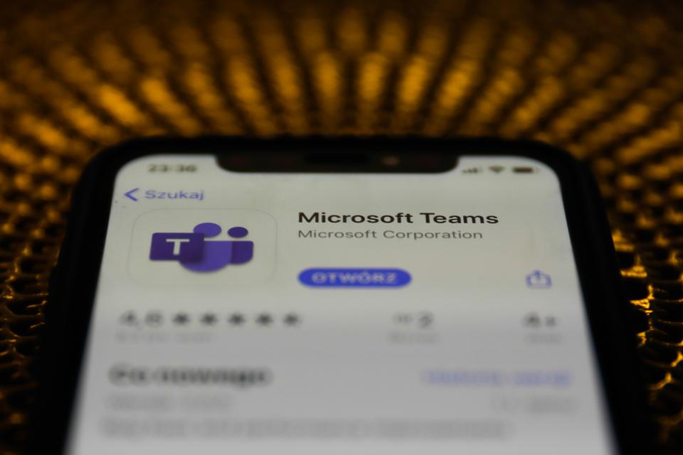 Microsoft Teams, seen here as a smartphone app, went down across large parts of the U.S. yesterday