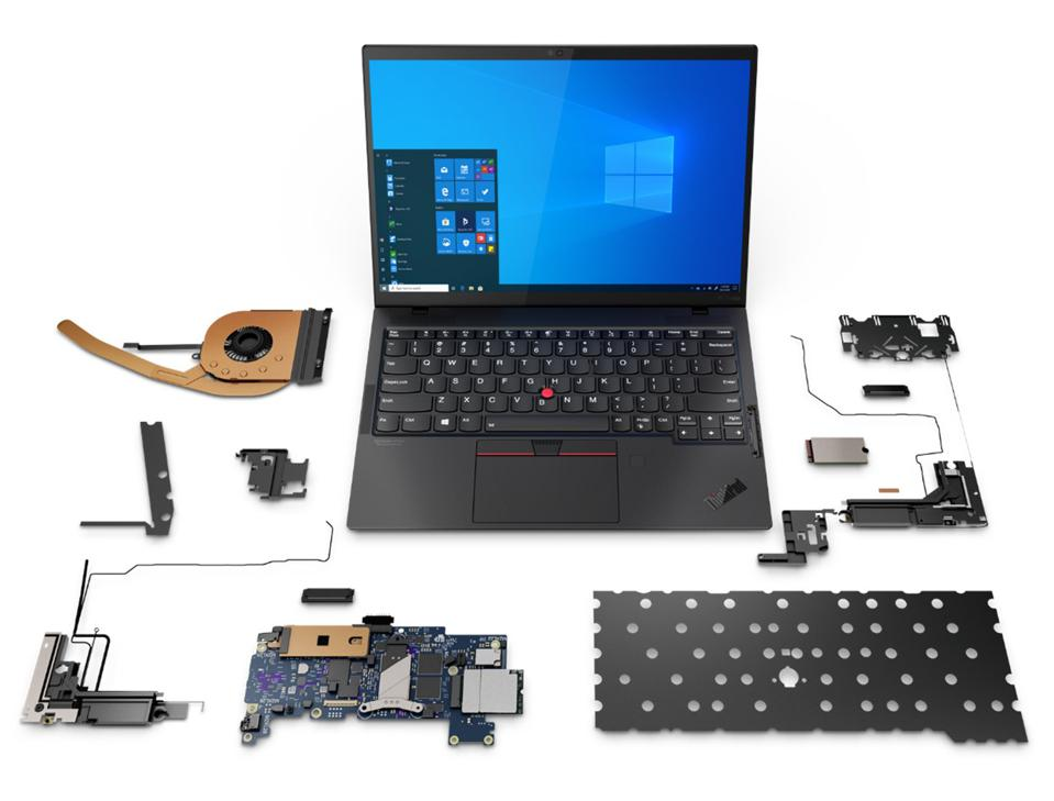 Exploded view of the ThinkPad X1 Nano and internals
