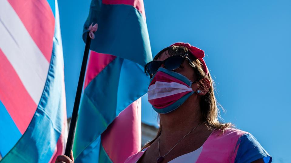 This Is Where It's Illegal To Be Transgender In 2020 face mask trans flag protest madrid