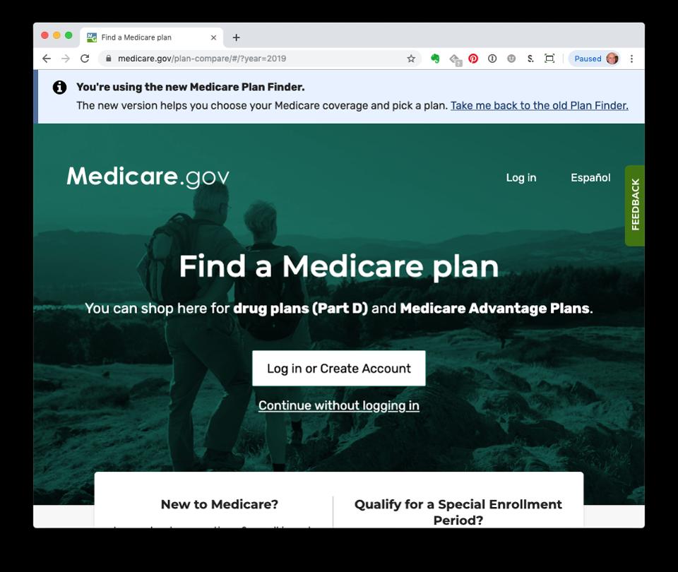 Screenshot of Medicare Plan Finder