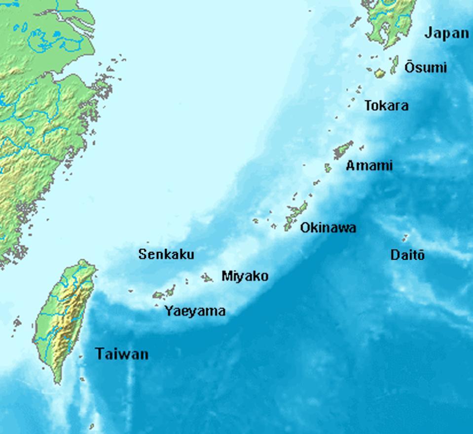 Taiwan alongside Japanese island chain.