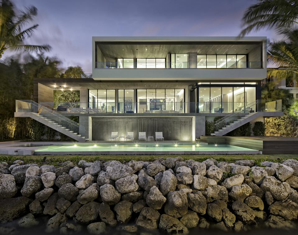 An exterior shot of a Coconut Grove home.