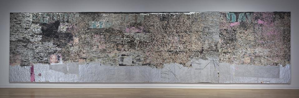 Mark Bradford, 'Kingdom Day,' 2010 Mixed - media collage on canvas. Four panels, overall: 120 x 480 inches. Collection of the Modern Art Museum of Fort Worth, Museum purchase.