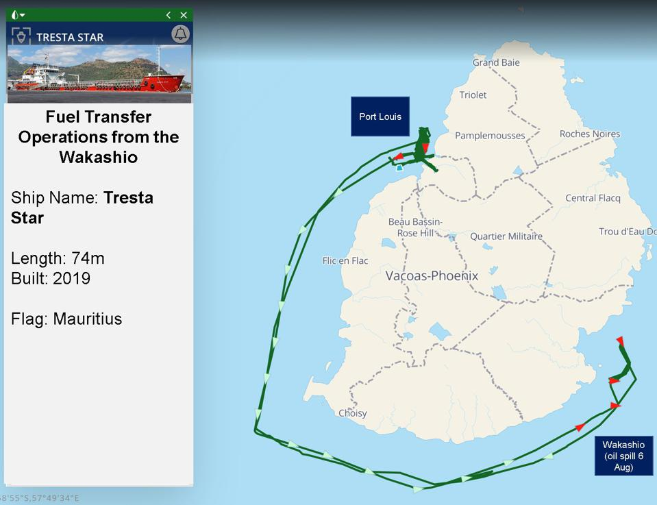 Mauritius-flagged oil tanker ship, the Tresta Star was built last year and is the newest oil ship in Mauritius' fleet.