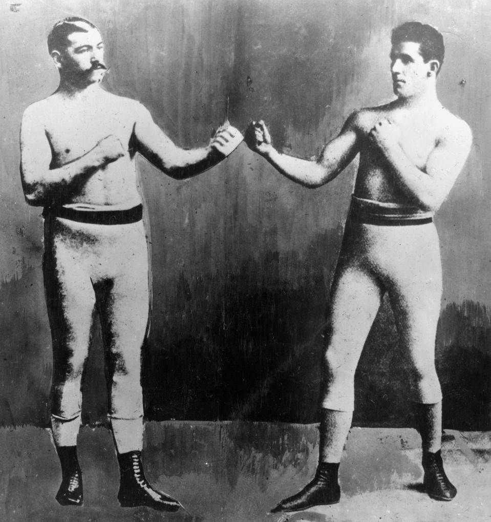 James J. Corbett and John L.Sullivan pose