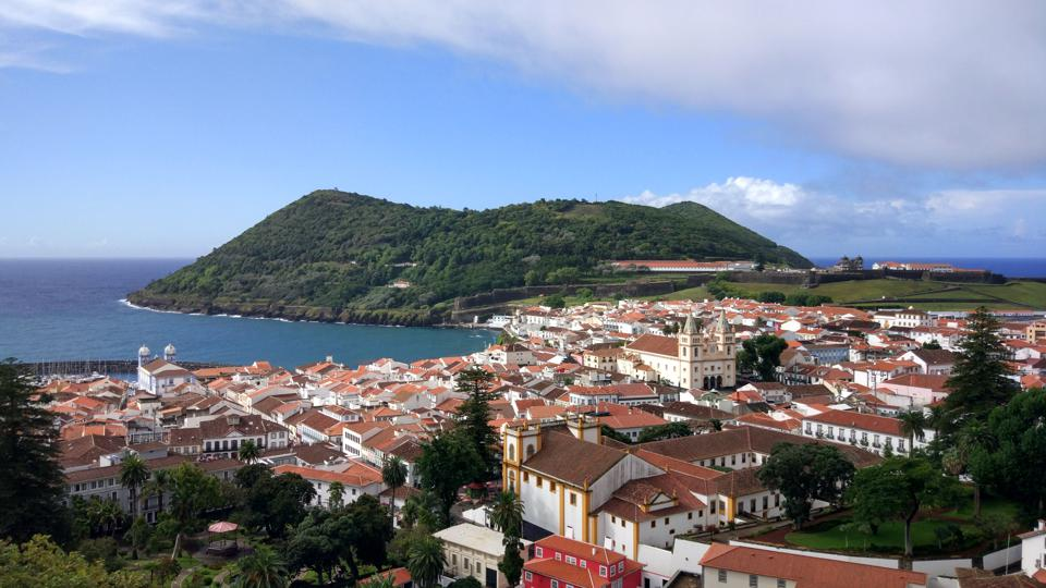 The city of Angra do Heroismo in the Azores is right beside the Pacific Ocean in Portugal