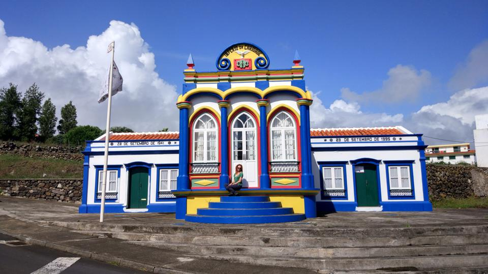 The little chapels called impérios in Terceira island, Azores, Portugal, are colorful.
