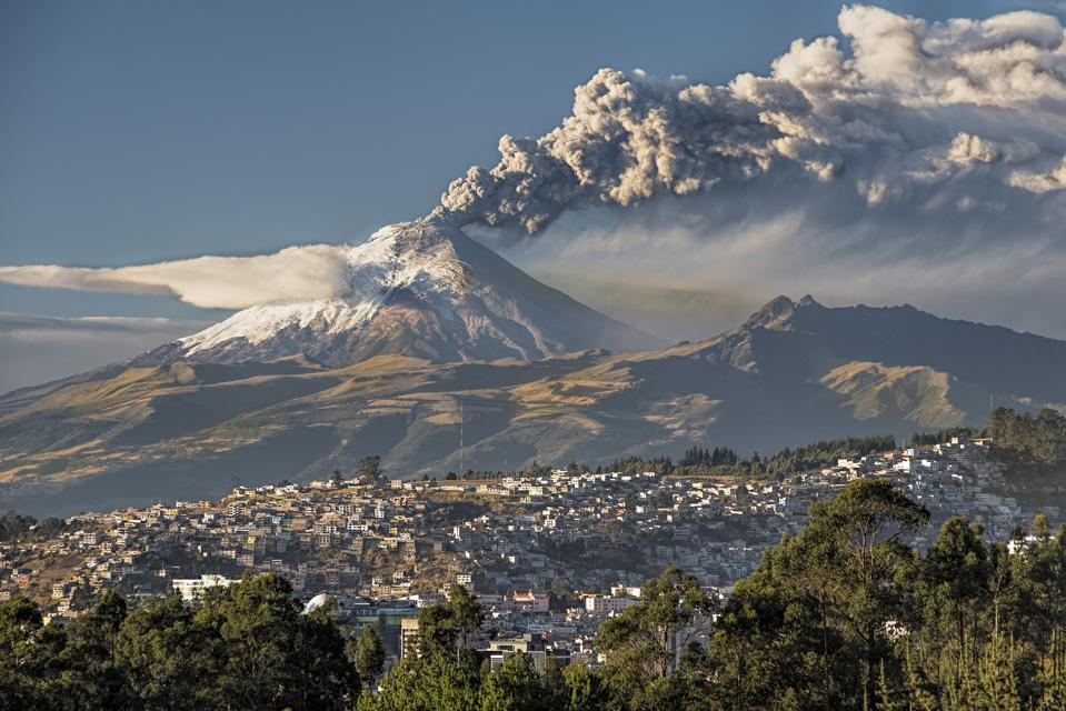 Volcano Cotopaxi in eruption