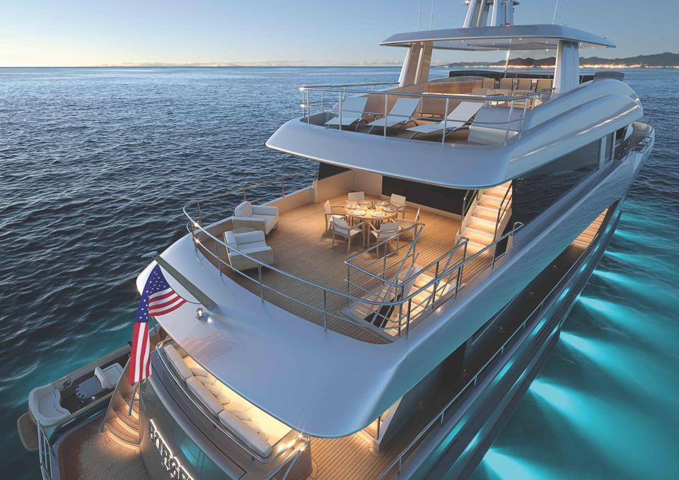Detailed rendering of Burger Boats new yacht concept