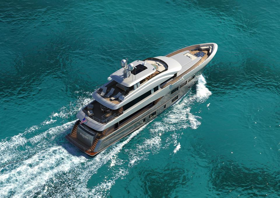 Detailed rendering of a new Burger tri-deck yacht