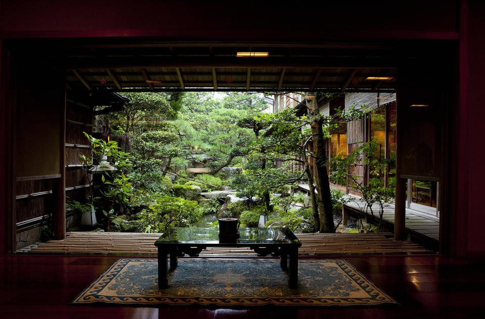 View of the garden at Nishimuraya Honkan in Kinosaki, Japan.