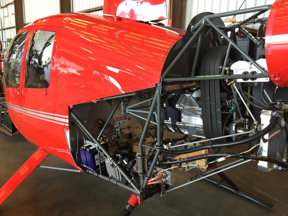 The Tier 1-developed EPU installation replaces a Lycoming IO-540 gas engine in the R44.