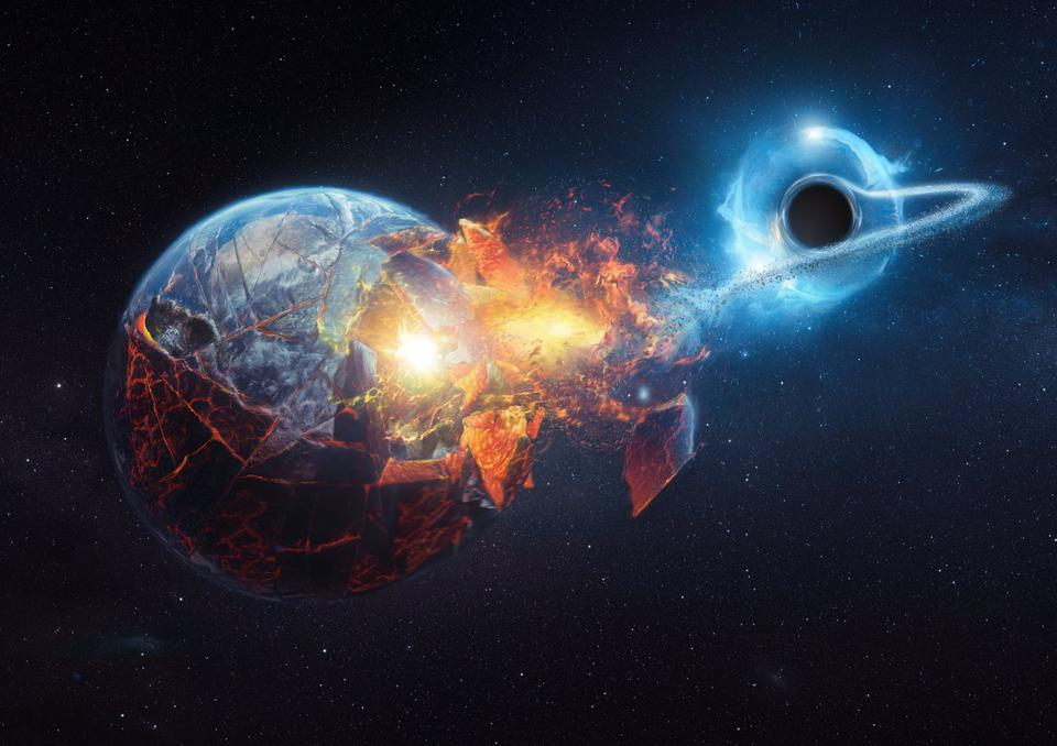 Illustration of a black hole devouring the Earth.