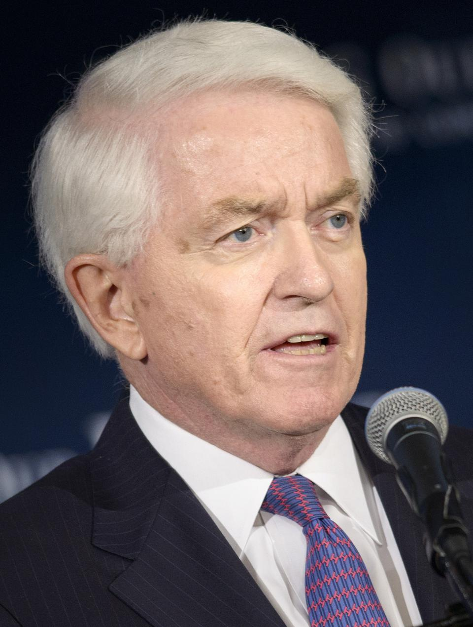 Picture of THomas Donohue, a grey haired man who is President of the U.S> Chamber of Commerce.