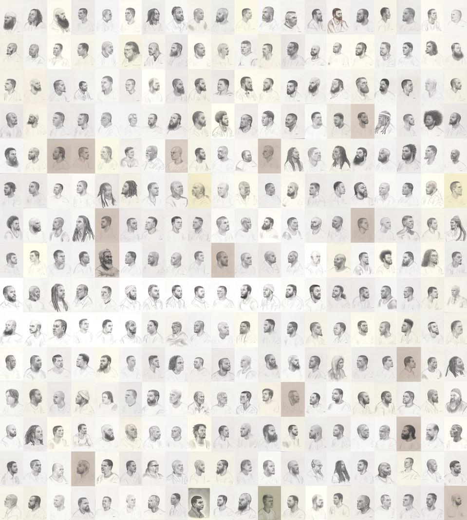 Mark Loughney, Pyrrhic Defeat: A Visual Study of Mass Incarceration, 2014-present. Graphite on paper (series of 500 drawings). Each 12 x 9 in. Courtesy of the artist.