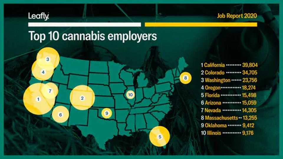 map of US showing 10 circles representing largest markets for cannabis jobs