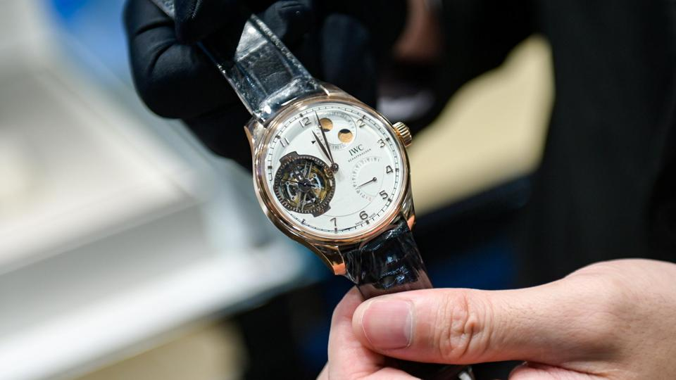 IWC Schaffhausen watch shown to a customer.