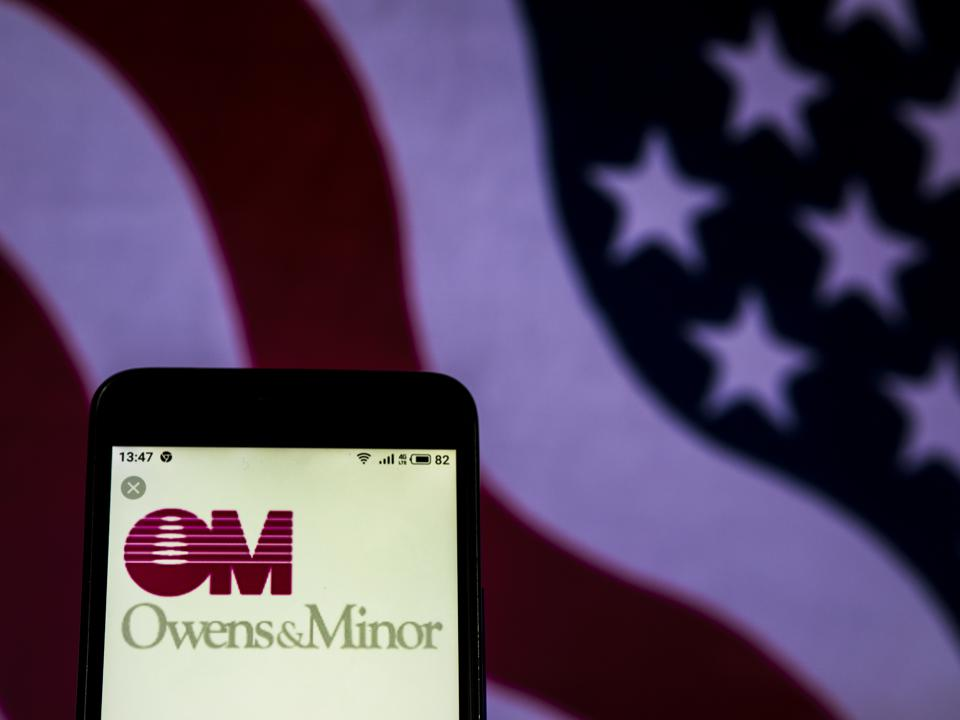 Owens & Minor Healthcare company logo seen displayed on a