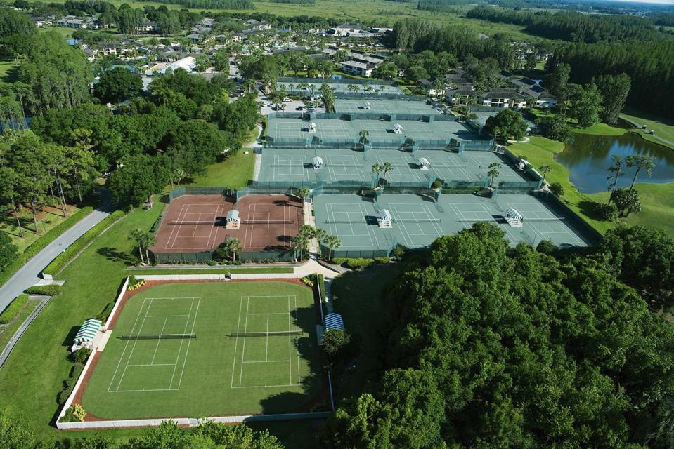 The tennis courts at Saddlebrook are grass and clay.