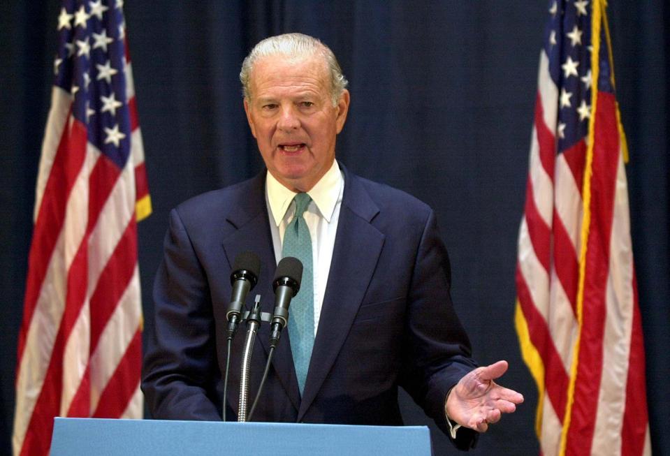 Former US Secretary of State James Baker speaks at