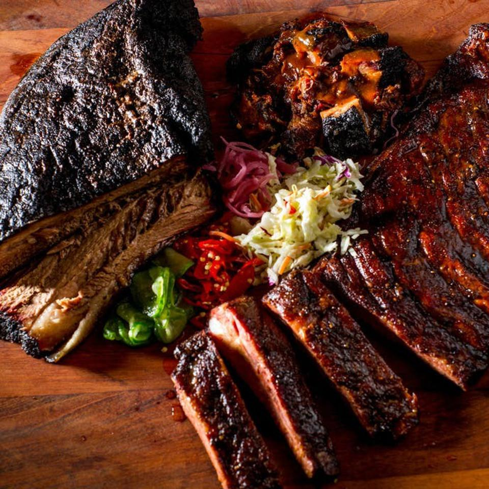 The sampler package at Mighty Quinn BBQ