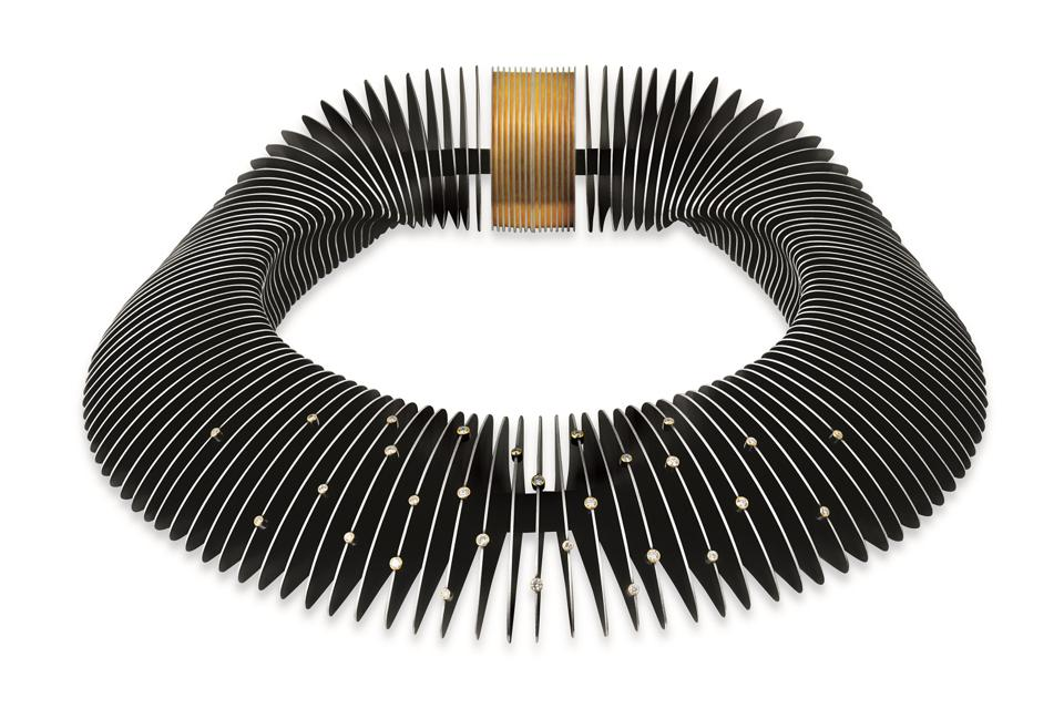 John Moore, Verto Necklace, 2015, which appears in the book. 'Coveted,' by Melanie Grant