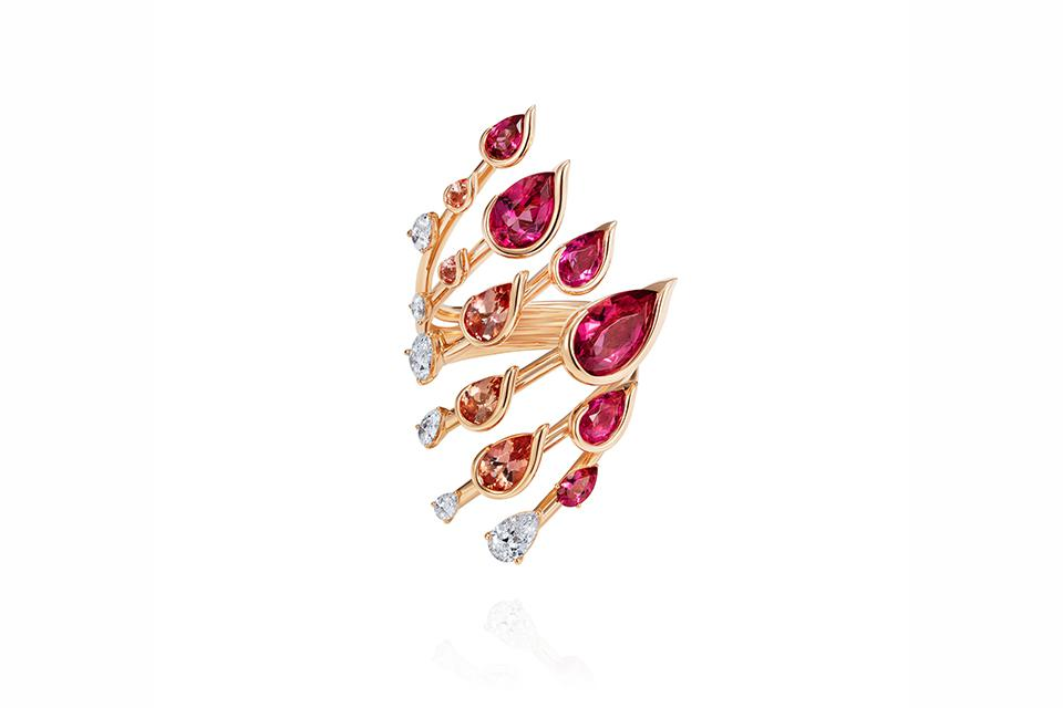 Fernando Jorge Flare ring in 18K rose gold with 0.76 carats diamond, imperial topaz and rubellite, $25,000, fernandojorge.co.uk