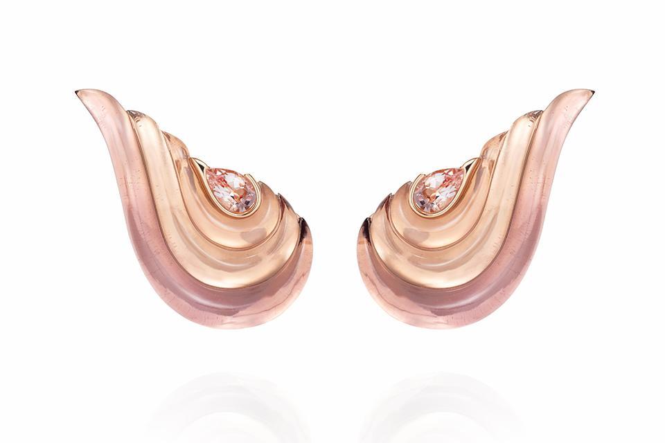 Fernando Jorge Gleam earrings in 18K rose gold with morganite, rose quartz, and amethyst, $24,000, net-a-porter.com