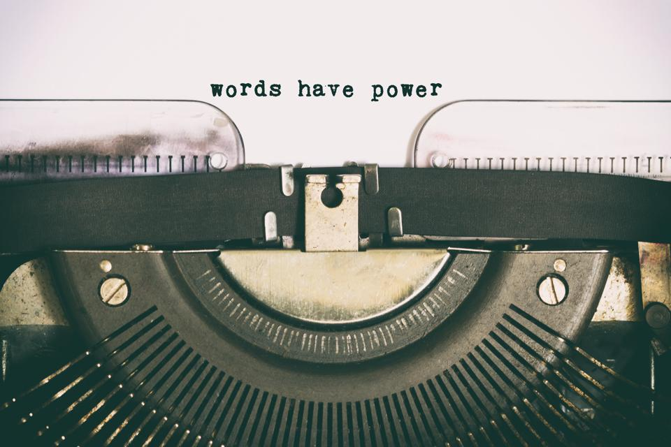 Words have power text  typed on vintage typewriter