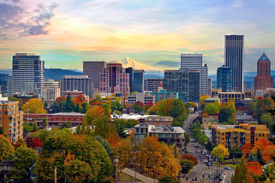 Portland Oregon Cityscape in the Fall. Portland is the best U.S. city for vegetarians.