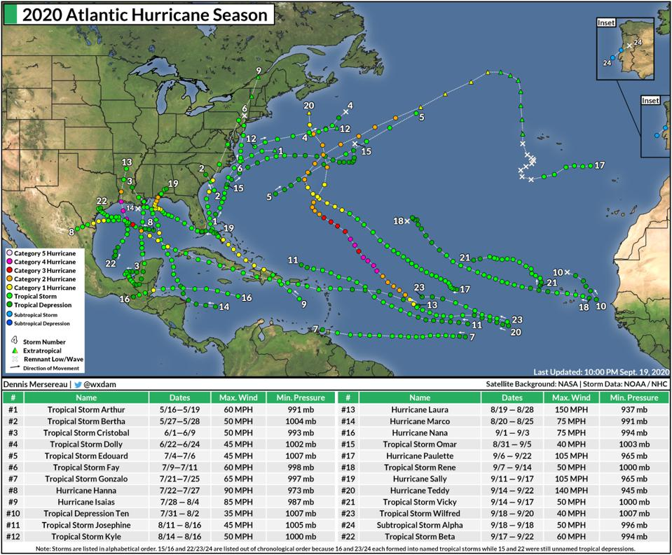 A summary map of the 2020 Atlantic hurricane season through September 22, 2020.