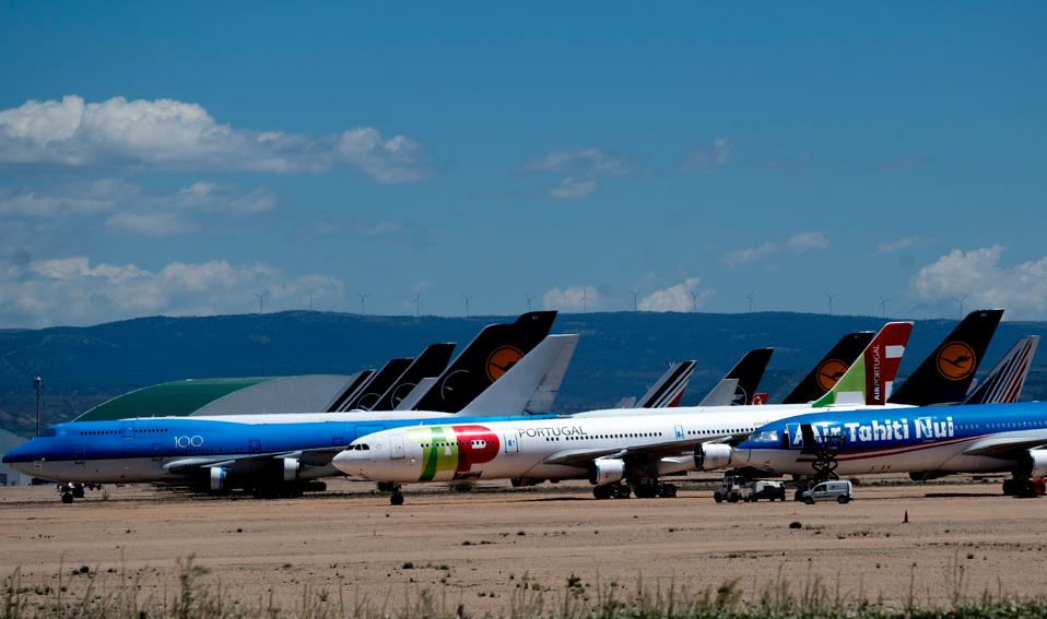 Aircraft of various airlines at the commercial aircraft maintenance, repair and overhaul site in Teruel, Spain.
