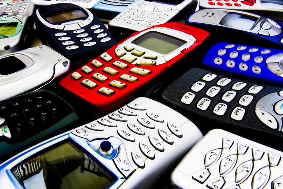 Set of Nokia mobile phones.