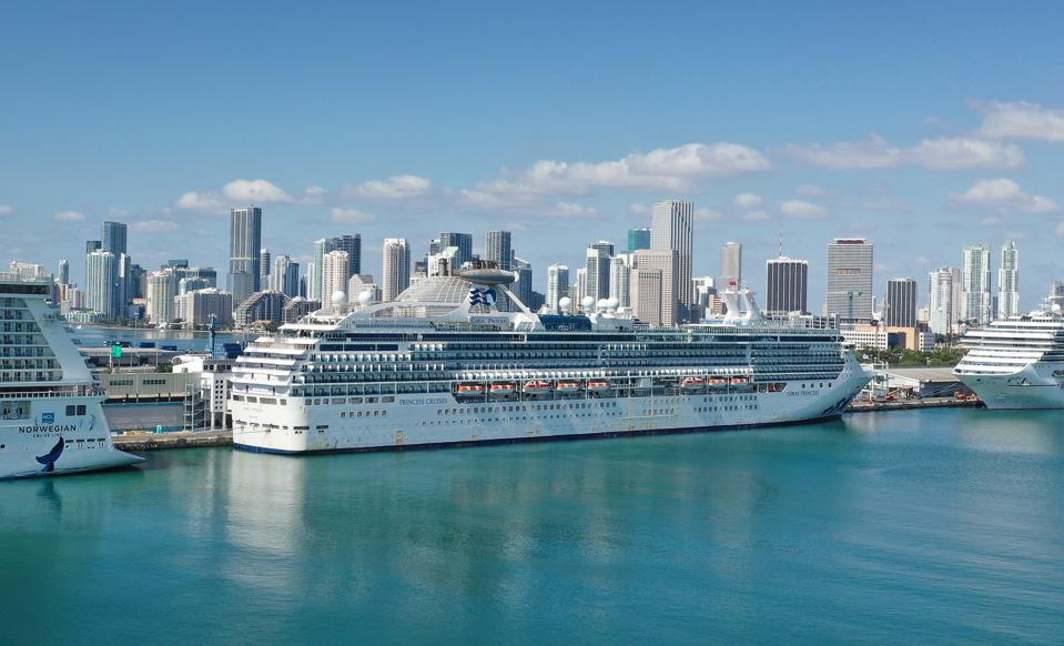 The Coral Princess after it docked at Miami after passengers and crew members aboard tested positive for COVID-19.
