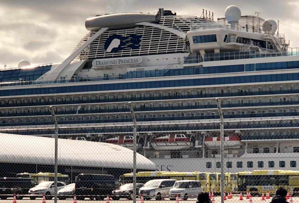 The Diamond Princess cruise liner, operated by Carnival Corp, in the port of Yokohama after a two-week coronavirus quarantine.