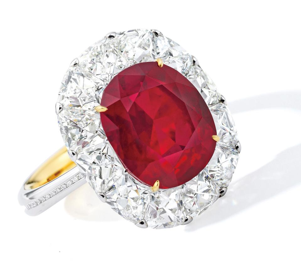 6.41-carat unheated Burmese 'Pigeon's Blood' ruby fetched $2.8 million at Sotheby's Hong Kong