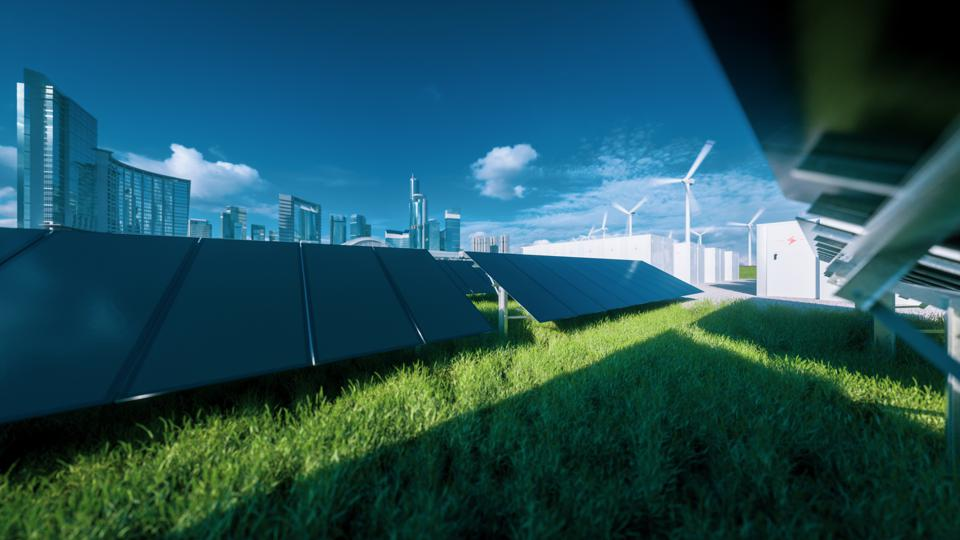 Modern black frameless solar panel farm, battery energy storage and wind turbines on fresh green grass under blue sky - concept of green sustainable energy  system. 3d rendering.