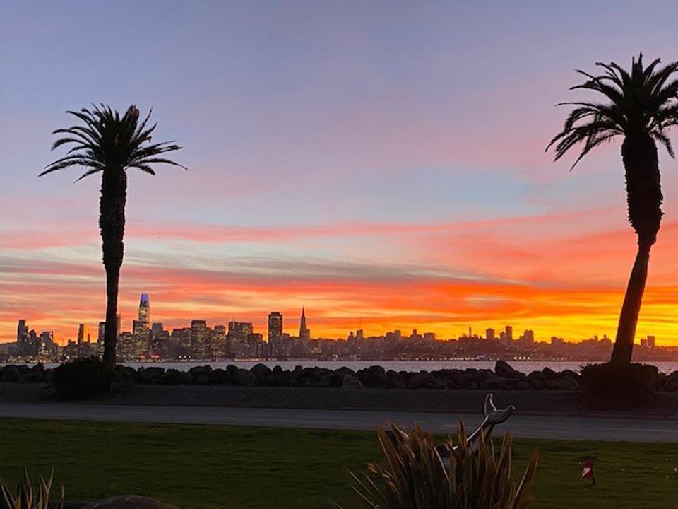 Views of the San Francisco skyline from Mersea on Treasure Island.