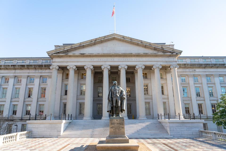 The Treasury Building during The National Cherry Blossom Festival, Washington DC, USA