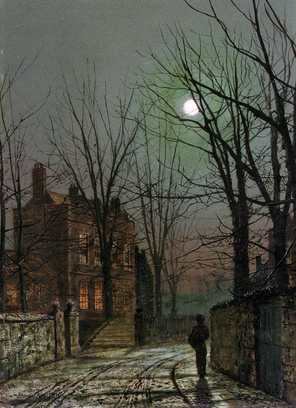 Eerie picture depicts scary city scene - 'By the Light of the Moon', 1882. Artist: John Atkinson Grimshaw