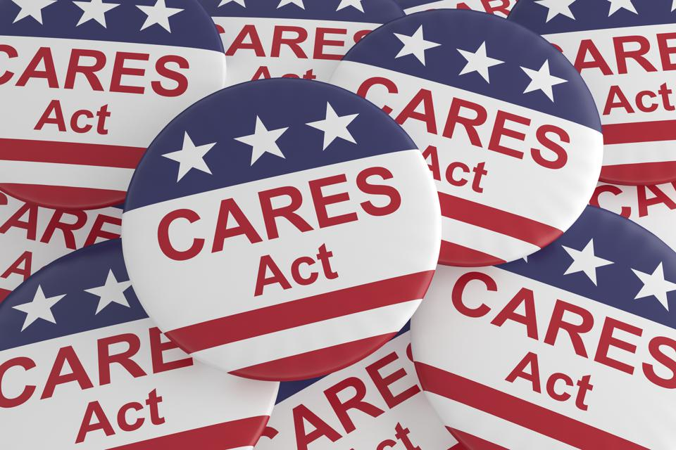 Pile of CARES Act Buttons With US Flag, 3d illustration