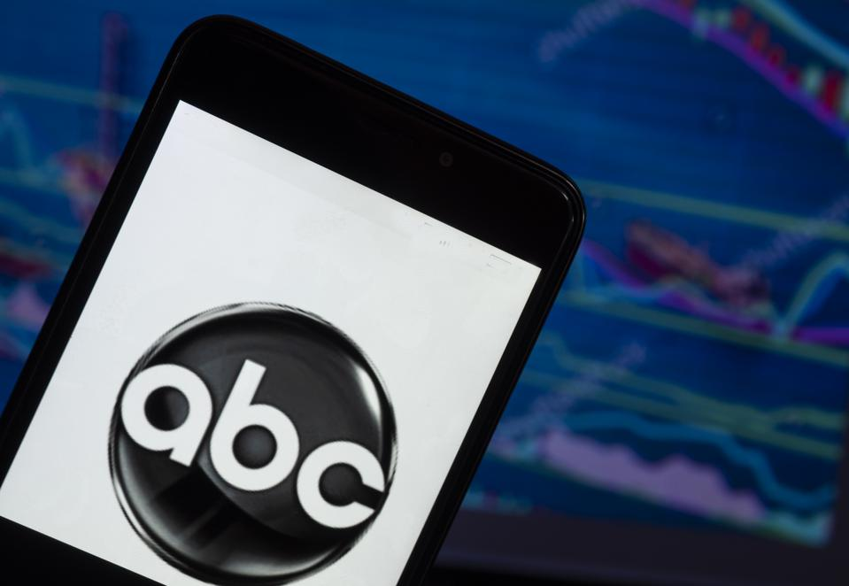 The ABC News logo seen displayed on a smart phone with a
