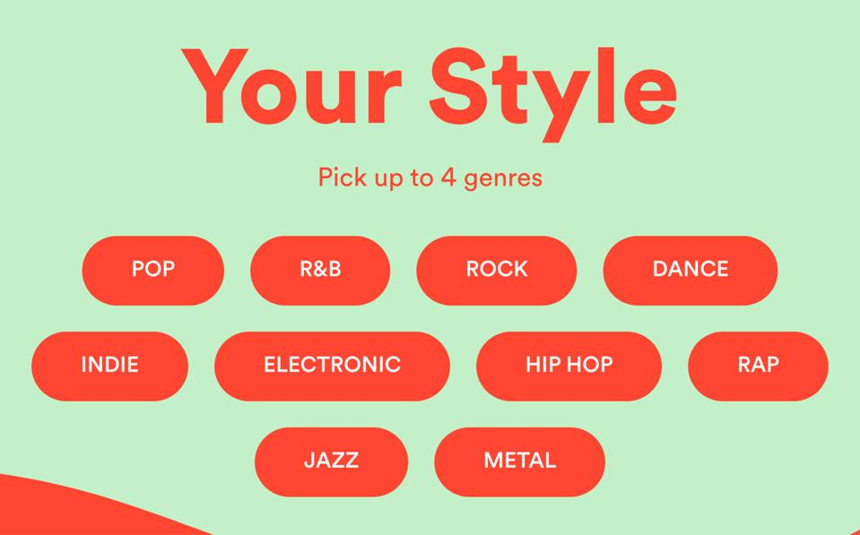 The music genre selection screen of Spotify Pumped.