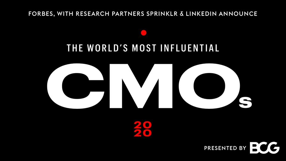 Forbes Announces Its 2020 World's Most Influential CMOs Ranking.